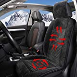 Big Hippo Car Seat Cushion, Universal Deluxe Velour Front Seat Cushion Cover Pad Mat Protector for Car Seat, Office Chair and Home Use (Black)