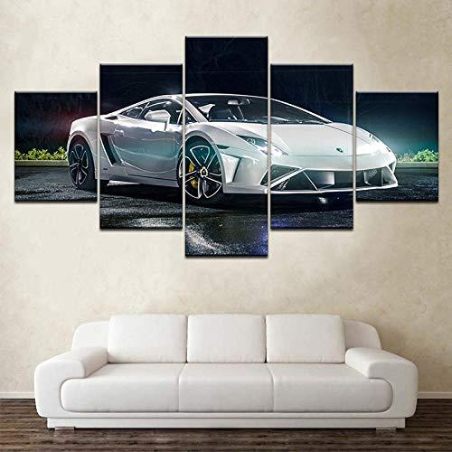 ome Decoración para la Sala de Estar Imágenes Impresas en HD 5 Piezas Blanco Deportivo Lamborghini Pintura en Lienzo de automóvil Cartel Vintage Arte de Pared + Sala de Estar Decoración d
