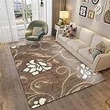 YXISHOME Alfombra Shaggy para Salón habitación de los Niños Dormitorio - Alfombras Muy Suave Patrón Floral de Alfombra con Estampado Europeo, marrón Alfombra 1.6x2.3m
