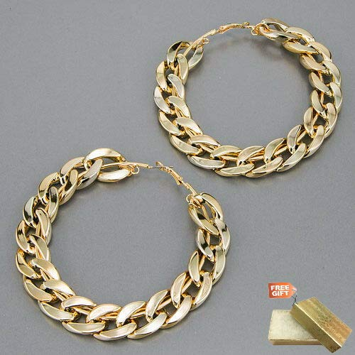 Gold Finish Cuban Link Urban Design Hoop Style Earrings For Women Set + Gold Cotton Filled Gift Box