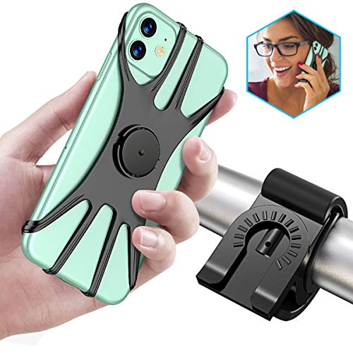 Cocoda Bike Phone Holder, 360° Rotation Adjustable Detachable Bike Phone Mount for Bicycle and Motorcycle Handlebars, Compatible with 4.0' to 6.5' Phones