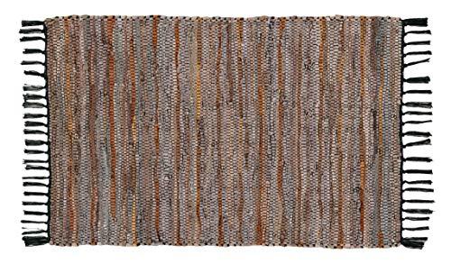 Leder-Teppich, handgewebt und handgenäht, aus echten Lederstreifen, Fransenbesatz, langlebig, schmutzabweisend, Chindi-Teppich, Wohnzimmer, Lederteppich, umweltfreundlich, 61 x 91 cm