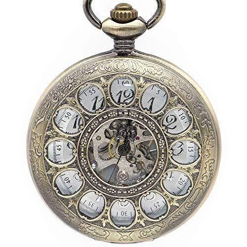 Huaib Reloj de Bolsillo Reloj de Bolsillo de Vapor Steam Punk Girasoles Recorte Diseño Reloj de Bolsillo mecánico Retro Esqueleto Masculino Reloj Reloj Reloj