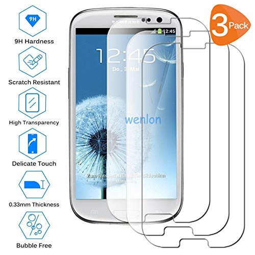 Wenlon [3 Pezzi Film in Vetro temperato per Samsung Galaxy S3 / S3 Neo, Schermo HD 9H di durezza, Pellicola Protettiva per Cellulare, Resistente ai Graffi