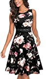 HOMEYEE Women's Sleeveless Cocktail A-Line Embroidery Party Summer Wedding Guest Dress A079(8,Black+White Floral)