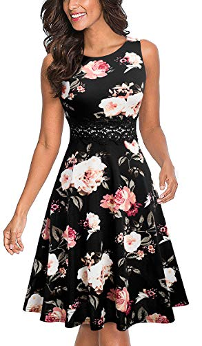 HOMEYEE Women's Sleeveless Cocktail A-Line Embroidery Party Summer Wedding Guest Dress A079(10,Black+White Floral)