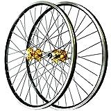 ZNND Juego Ruedas Bicicleta Montaña 26 Pulgadas Llantas Aleación Doble Pared Freno de Disco/V QR 3 Pawl Bujes Rodamiento Sellados Casete 7-11 Velocidades 32H (Color : B)