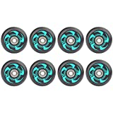 SSCYHT 8 Pcs Inline Skate Wheels 72Mm 76Mm 80Mm Inline Skate Replacement Wheels with ABEC-9 Bearings, Green, 76mm