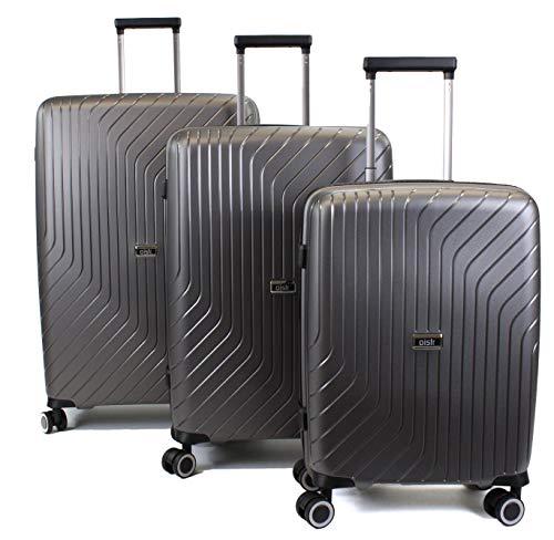 Pure - Reisekoffer Cooper - 3-teiliges Koffer-Set - Hartschalenkoffer mit 4 Rollen und TSA-Schloss in den Größen S, M & L - Grau