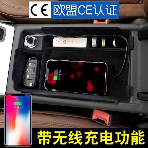 EEkiimy Qi Wireless Charger iPhone Holder Center Container Storage Box Center Console Customized For 2017 Audi A4 A5 Armrest Organizer fit for iPhone X iPhone 8 Plus,Samsung Galaxy Note 8,Note 9 S9