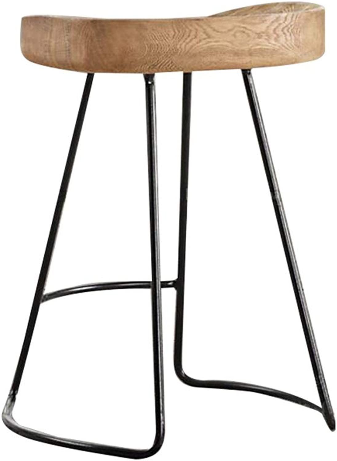 Barstool Wooden Iron Breakfast Dining Stool Ergonomic Seat for Kitchen Bar Counter Home Commercial Chair High Stool LOFT Industrial Concise Style (Size   Height 55cm)