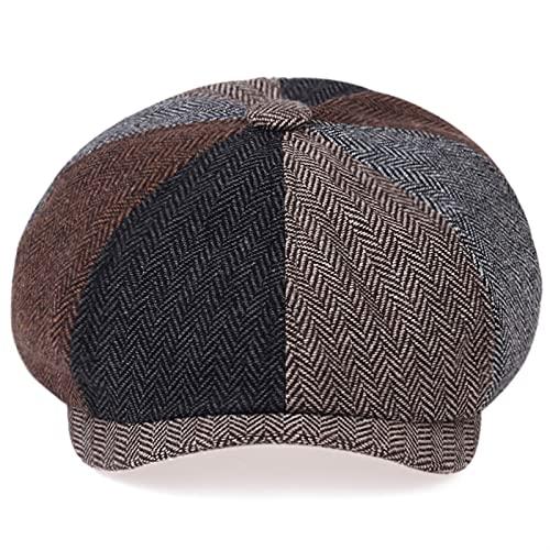 YISLWHUO Berets Retro Herringbone Newsboy Caps Men Newsboy hat Stitching Berets Cap (Color : 4 Colors, Hat Size : Large)