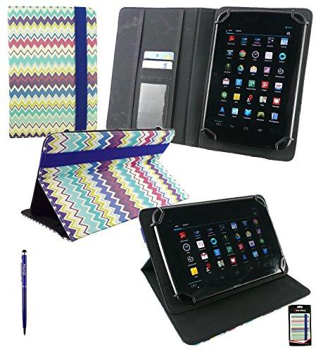 Emartbuy® Allview Viva H8 Life 8 Zoll Tablet Universal Range Multi farbig Zigzag PU Leder Multi Winkel Folio Exekutive Case Cover Wallet Hülle Schutzhülle mit Kartensteckplätze + Blau 2 in 1 Eingabestift