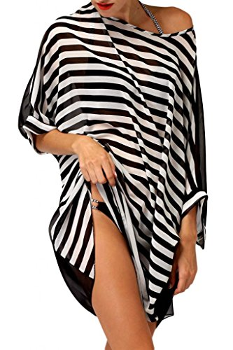 Dearlovers Women Oversized Stripes Beach Cover-up Smock One Size Multicoloured