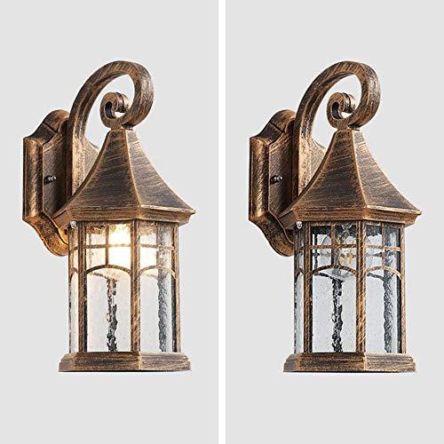 Mkj wandlamp Corridoio lamp met spiegel voor de muur, van metaal in vintage-stijl, voor buiten, buiten, lantaarn voor de muur Brons.
