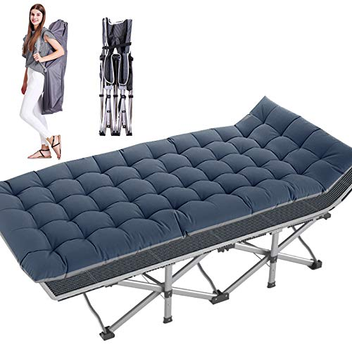 H&ZT Updated Folding Camping Cots for Adults, 6.25' Length Heavy Duty Sleeping Cots Suits People Weighting 600 Pounds, Including a Carrying Bag