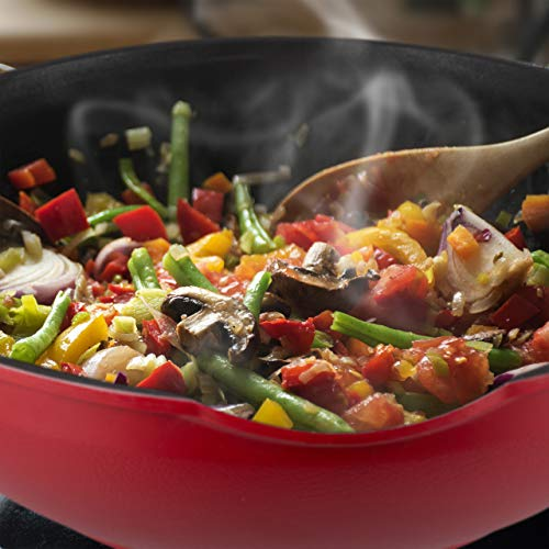 Relaxdays Wok con tapa de cristal, 30 cm, wok con revestimiento antiadherente, cocina de gas y eléctrica, asa, 4 litros, rojo/negro