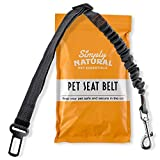 𝗧𝗛𝗘 𝗪𝗜𝗡𝗡𝗘𝗥 𝟮𝟬𝟮𝟬* Pet Seat Belt Restraint By Simply Natural – Bungee Buffer 70-80cm Dog Seatbelt for Car with Compatible Pet Seatbelt Clip