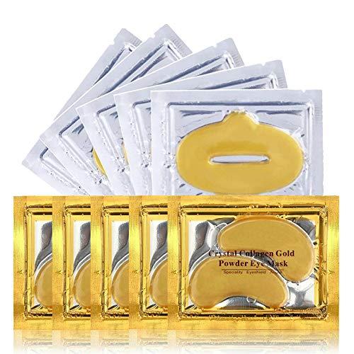 Mascarilla para los ojos - Mascarilla para los labios - 5 pares de Almohadillas para los ojos + 5 Mascarilla para labios - Máscara para labios y ojos de oro 24K para las ojeras y arrugas