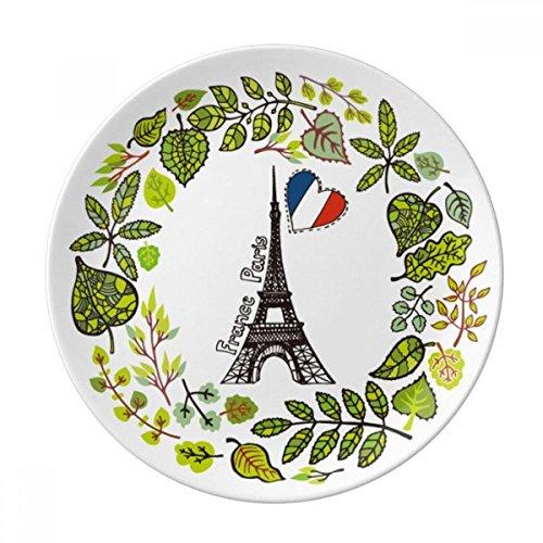 DIYthinker la Tour Eiffel Paris France Illustration Décorative Porcelaine Assiette à Dessert 8 Pouces Dîner Accueil Cadeau 21cm Diamètre Multicolor