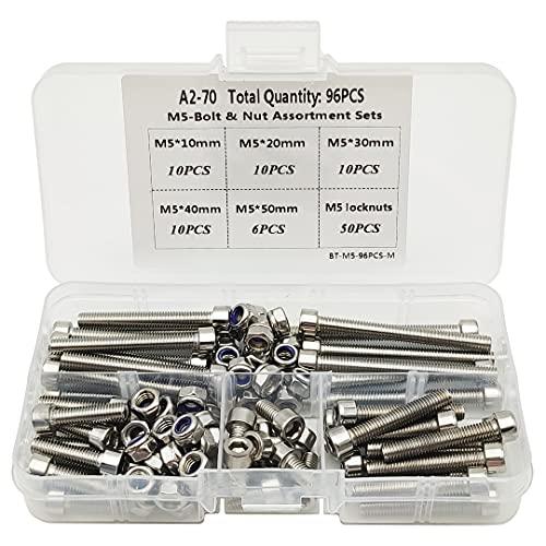 Tuercas y tornillos M5 304 de acero inoxidable hexagonal, tornillos y tuercas (M5-10-20-30-40-50MM)