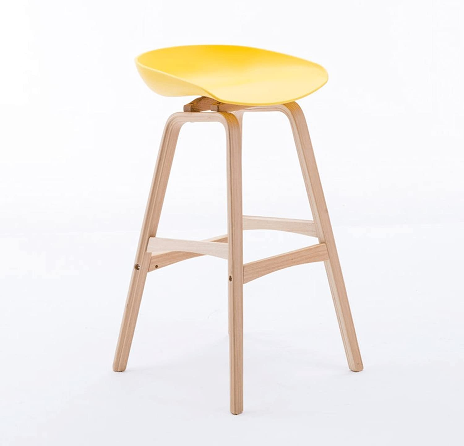 Bar stool Solid Wood PP Material High Stools, Bar Lounge Chairs, Home Decor Bar Stools, Wood color Stool Legs XXT (color   Yellow, Size   H65CM)
