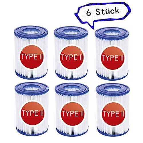SK-LBB Pool Filterkartuschen Größe 2, für Bestway 58094 Filterkartuschen Gr.II, Spa Ersatz Aufblasbarer Poolreinigungsfilter Zubehör, für Bestway Swimming Pool 530/800 gal/h Filter. (6 Stück)