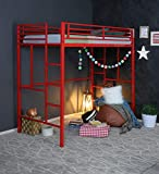 Royal Interiors Emily Single Size Metal Bunk Cot Bed - Frame Only, Mattress not Included (Red)