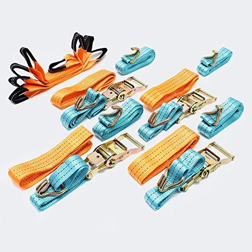 Spanngurte 4er Set für den Autotransport, 50mm x 3,5m, 3000 daN, Zurrgurte zur Radsicherung