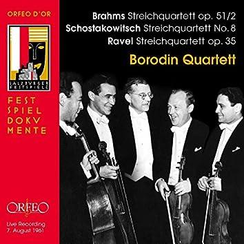 Brahms, Shostakovich & Ravel: String Quartets (Live)