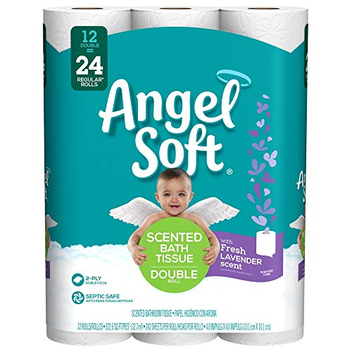 Angel Soft Toilet Paper with Fresh Lavender Scent, 12 Double Rolls, 242 2-Ply Sheets