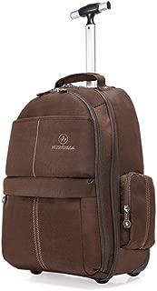 GLJJQMY Travel Bag Backpack Wheel Zipper Waterproof Suitcase Boarding Travel Simple Trolley Bag Nylon Trolley Backpack (Color : Brown, Size : 47x16x38cm)