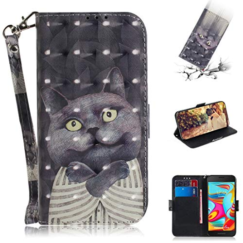 Premium Business PU leer Phone Shell Phone Case Praktische Patroon 3D ingekleurde tekening knuffel Kat Horizontale Flip Leather Case for Galaxy A2 Core, met Holder & Card Slots & Wallet Stijlvolle tel