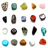 JOVIVI, set di pietre naturali per cristalloterapia, pietre dei chakra, set di 20diverse gemme, pietre tamburate. Set di pietre amorfe, gemme naturali tamburate da 10,16 a 22,86 mm.