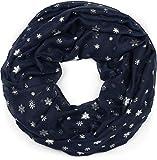 styleBREAKER Loop Schal mit Metallic Schneeflocken Print, Schlauchschal, Tuch, Damen 01017064, Farbe:Dunkelblau