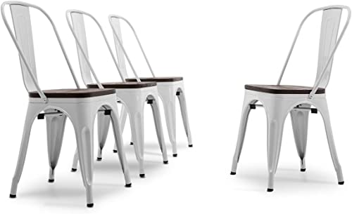 popular BELLEZE Set of 4 Wood Seat Restaurant Cafe high quality Bar Stool lowest Modern Style Metal Industrial Stackable Bistro Dining Chairs White online sale