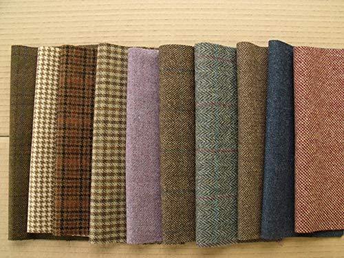 Retales de tweed de pura lana 100 %, 10 trozos de tamaño...