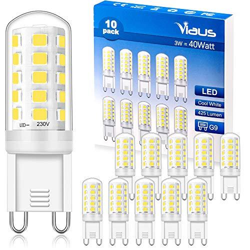 G9 LED Lampen Kaltweiss, 3W, Entspricht 40W, LED G9 Kaltweiß Glühlampe 6000K, CRI> 85, 425LM, AC 220V - 240V, Nicht Dimmbar, Flackerfrei, G9 Birne Kapsel Lampe für Kristalldeckenleuchten, 10er Pack