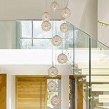 Iluminación Colgante Araña de Cristal Escalera de Caracol 10 Bolas Moderno Minimalista Restaurante Creativo desván de la Sala Villa de Techo Colgante araña de Luces, 40 * 200cm A+ (Color : Gold)