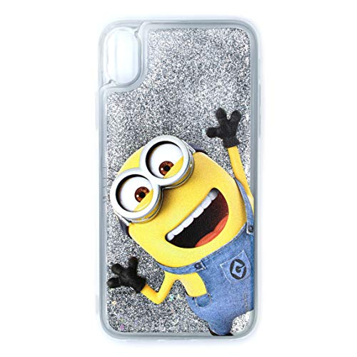 ERT Despicable ME Minion Handyhülle Design für iPhone XR Flüssiger Glitter - Transparent/Silber Glitter