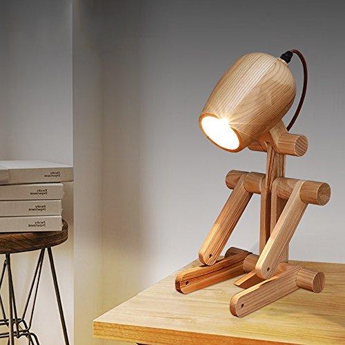 Pointhx Minimalista de Madera Puppy Table Light Fixture nórdico Creativo Plegable de Madera Lámparas de Mesa Sala de Estudio Bedside Living Room E27 1 luz de Escritorio Light