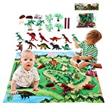 Gomyhom Dinosaur Toys for Boys, 24 Pcs Large Dinosaur Figure with Activity Play Mat & Trees, Realistic Educational Jurassic World Dino Playset for Girls Kids Toddlers Gift