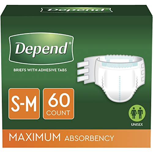 Depend Incontinence Protection with Tabs, Maximum Absorbency, S/M, 60 Count (3 Packs of 20) (Packaging May Vary)