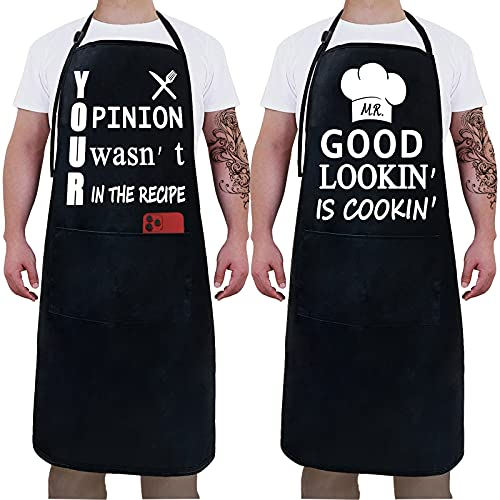 2 Pack Funny Black Waterproof With Pockets Aprons for Men - Mr. Good Looking is Cooking -Husband, Dad, Son, Boyfriend, Friends Birthday Grilling Gifts Thanksgiving Kitchen Chef Cooking BBQ Apron