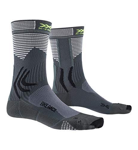 X-Socks Bike Race Socks Calze da Ciclista Uomo Donna, Calzini Unisex – Adulto, Charcoal/Arctic White, 39-41