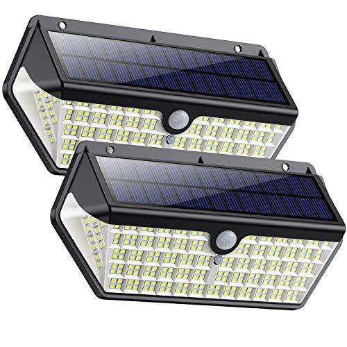 SWEYE Luz Solar Exterior 266LED,【Nueva Versión-Super Brillante 2500lm/2200mAh】Lámpara Solar Jardín Impermeable IP65 con 3 Modos Inteligentes Focos Exterior Solares con Sensor de Movimiento 2-Paquete