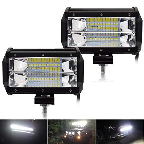 Safego 2x 72W Faro Da Lavoro Luce Barra Luminosa LED Fendinebbia Fanalino Luce Anteriore e Posteriore per Autoveicoli Fuoristrada Barche Trattori Camion Veicoli ATV Offroad Barca 12V 24V