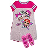 L.O.L Surprise! Pajama Set, Dorm PJs with Slippers, Rocker Diva and MC Swag,Pink, Girls Size 7/8