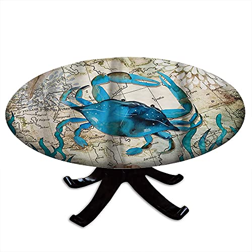 Round Tablecloth with Elastic Edges, Marine Animals Nautical Blue map of Coastal Life Sailing on The sea Crab Design, Fits Tables 48' - 52' Diameter