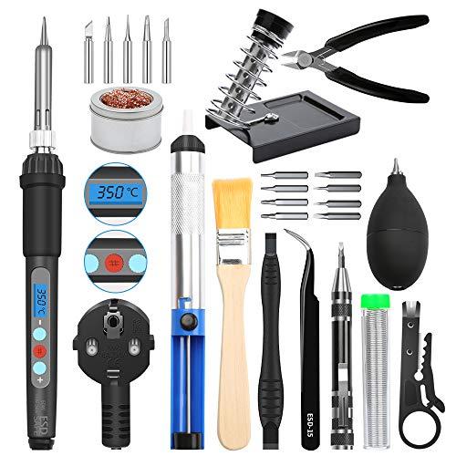 Soona - Kit de soldador para soldar (220 V, 60 W, temperatura ajustable 200 ~ 480 °C, 5 consejos diferentes, bomba de desoldar, titular, pinzas de depilar antiestática, hilo de soldadura, etc.